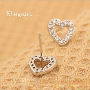 Jewelry - Crystal Heart Earrings - Silver Plated
